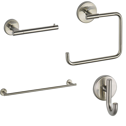 Delta Trinsic Stainless Steel Finish STANDARD Bathroom Accessory Set Includes: 24