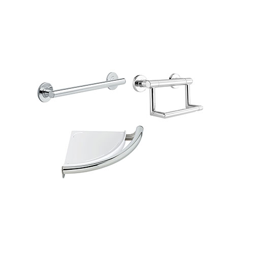 Delta Bath Safety Contemporary Chrome BASICS Bathroom Accessory Set: 18