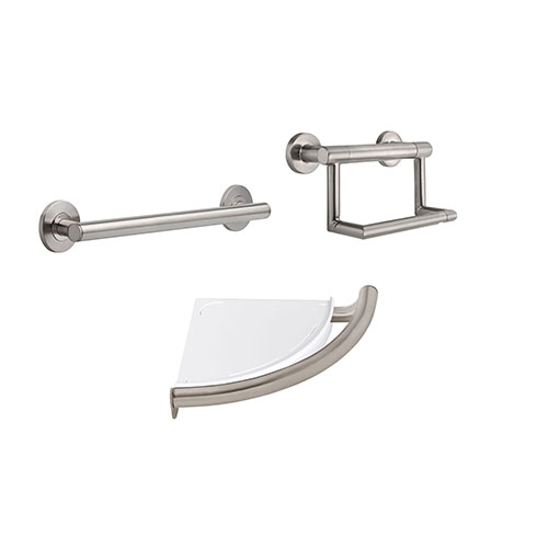 Delta Bath Safety Stainless Steel Finish BASICS Accessory Set Includes: 18