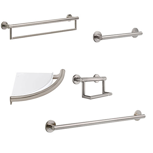Delta Bath Safety Stainless Steel Finish DELUXE Accessory Set Includes: 18