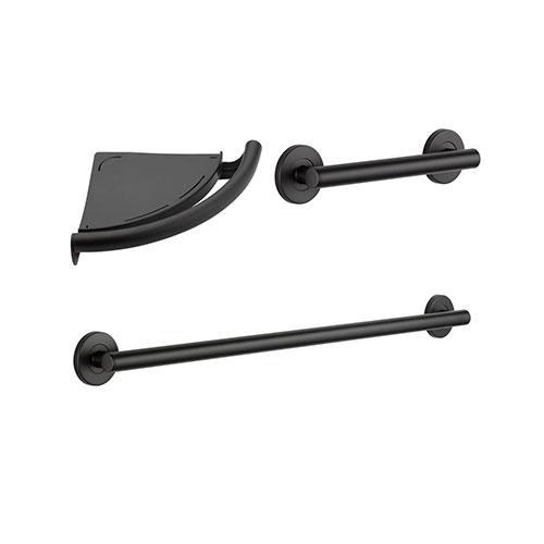 Delta Bath Safety Traditional Matte Black BASICS Bathroom Accessory Set Includes: 12