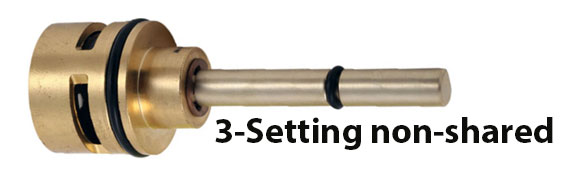 If the shower system you want to order normally includes a 6-setting diverter (3 individual and 3 shared), order this 3-setting diverter cartridge to remove the shared function