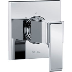 Delta Ara Modern Square Chrome Finish Single Handle 3-Setting 2-Port Shower Diverter Fixture INCLUDES Rough-in Valve D1294V