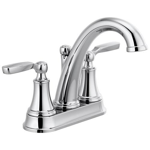 Delta Woodhurst Chrome Finish Lever Handle Centerset Bathroom Sink Faucet with Matching Drain D2532LFMPU