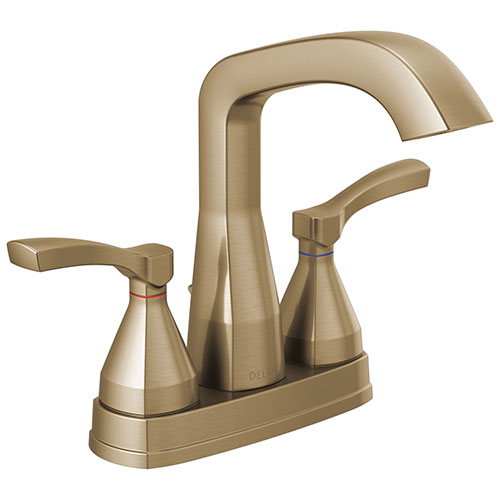 Delta Stryke Champagne Bronze Finish Centerset Bathroom Sink Faucet with Matching Drain and Lever Handles D25776CZMPUDST