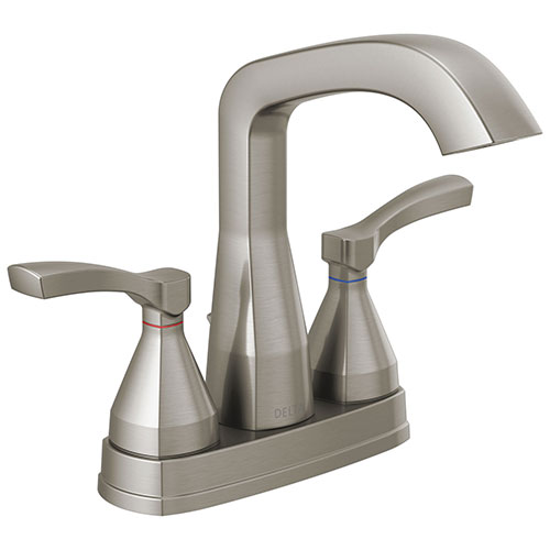 Delta Stryke Stainless Steel Finish Centerset Bathroom Sink Faucet with Matching Drain and Lever Handles D25776SSMPUDST
