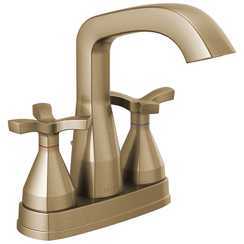 Delta Stryke Champagne Bronze Finish Centerset Bathroom Faucet with Matching Drain and Cross Handles D257766CZMPUDST
