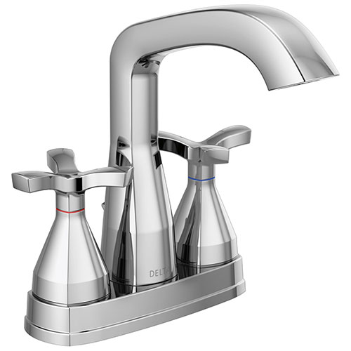 Delta Stryke Chrome Finish Centerset Bathroom Faucet with Matching Drain and Cross Handles D257766MPUDST
