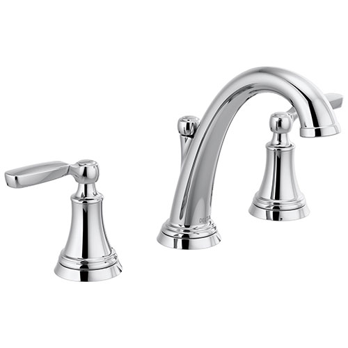 Delta Woodhurst Chrome Finish Bathroom Sink Faucet Includes Matching Drain and Lever Handles D3532LFMPU