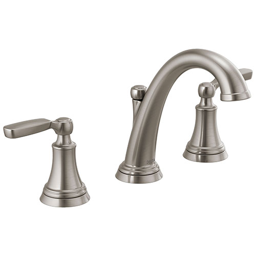 Delta Woodhurst Stainless Steel Finish Bathroom Sink Faucet Includes Matching Drain and Lever Handles D3532LFSSMPU