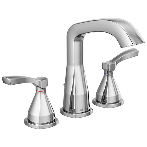 Delta Stryke Chrome Finish Widespread Bathroom Sink Faucet with Matching Drain and Lever Handles D35776MPUDST