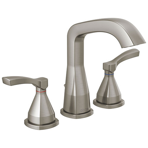 Delta Stryke Stainless Steel Finish Widespread Bathroom Sink Faucet with Matching Drain and Lever Handles D35776SSMPUDST
