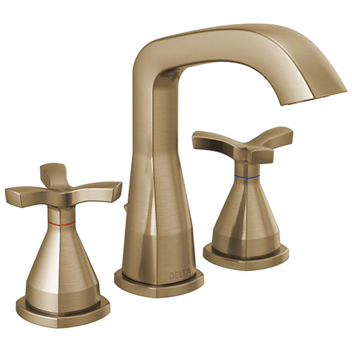 Delta Stryke Champagne Bronze Finish Widespread Bathroom Faucet with Matching Drain and Cross Handles D357766CZMPUDST