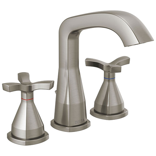 Delta Stryke Stainless Steel Finish Widespread Bathroom Faucet with Matching Drain and Cross Handles D357766SSMPUDST