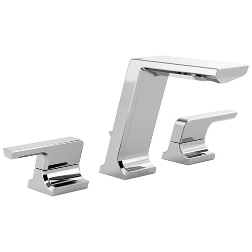 Delta Pivotal Chrome Finish Modern Two Handle Widespread Bathroom Faucet with Matching Finish Drain D3599LFMPU