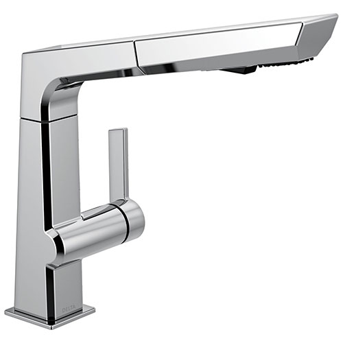 Delta Pivotal Modern Chrome Finish Single Handle Pull Out Kitchen Faucet D4193DST