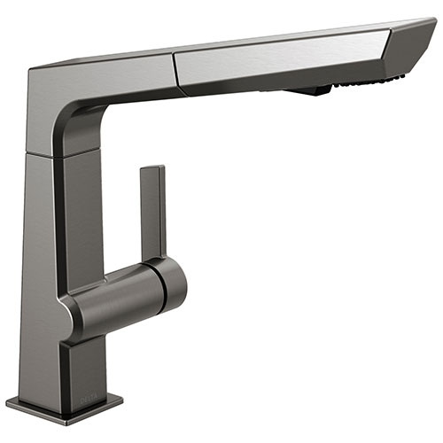 Delta Pivotal Modern Black Stainless Steel Finish Single Handle Pull-Out Kitchen Faucet D4193KSDST