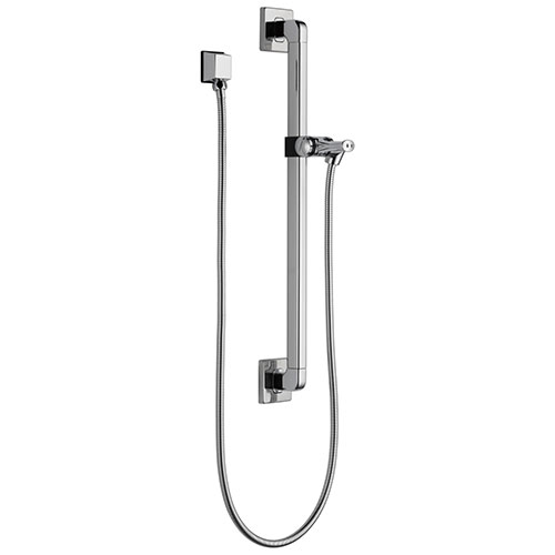 Delta Chrome Finish Modern Slide Bar / Grab Bar Assembly with Adjustable Mounting Bracket, Square Wall Elbow, and Hose (Requires Hand Spray) D51500
