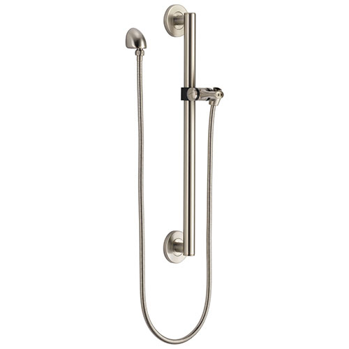 Delta Stainless Steel Finish Modern Slide Bar / Grab Bar Assembly with Adjustable Mounting Bracket, Wall Elbow, and Hose (Requires Hand Spray) D51600SS