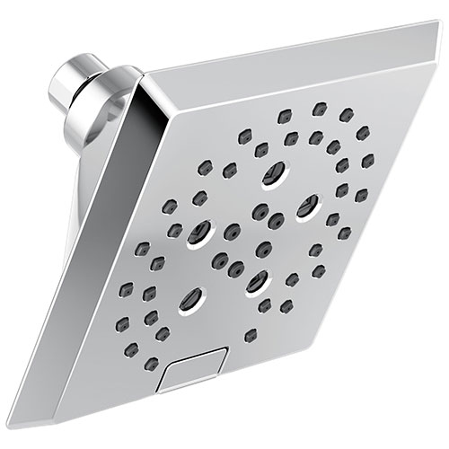 Delta Chrome Finish H2Okinetic 5-Setting Angular Modern Raincan Shower Head D52664