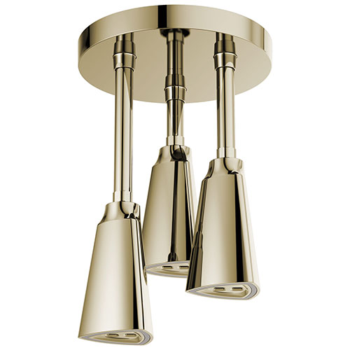 Delta Polished Nickel Finish 2.5 GPM H2Okinetic Pendant Triple Ceiling Mount Raincan Shower Head with Water-Powered LED Light D57140PN25L