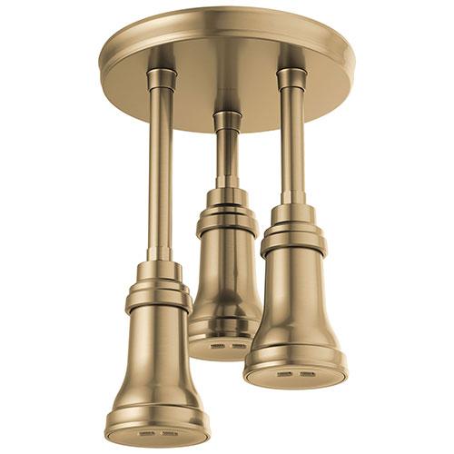Delta Champagne Bronze Finish 2.5 GPM H2Okinetic Pendant Triple Ceiling Mount Raincan Shower Head D57190CZ25