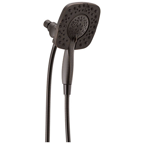 Delta Venetian Bronze Finish In2ition HSSH 1.75 GPM 4-Setting Dual Hand Shower and Square Showerhead Spray D58498RB