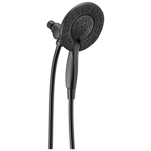 Delta Matte Black Finish In2ition HSSH 1.75 GPM 4-Setting Dual Hand Shower and Round Showerhead Spray D58499BL