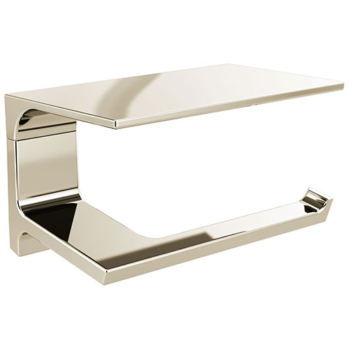 Delta Pivotal Polished Nickel Finish Toilet Tissue Paper Holder with Shelf D79956PN