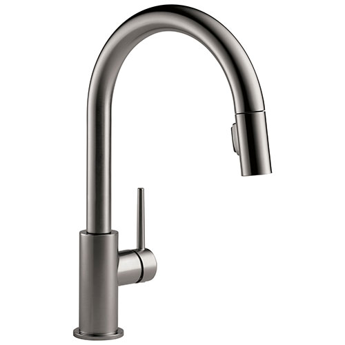 Delta Trinsic Black Stainless Steel Finish Single Handle Pull-Down Kitchen Faucet D9159KSDST