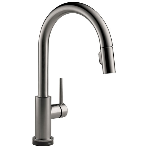 Delta Trinsic Black Stainless Steel Finish VoiceIQ Single-Handle Pull-Down Kitchen Faucet with Touch2O Technology D9159TVKSDST