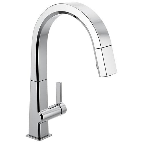 Delta Pivotal Chrome Finish Single Handle Pull Down Kitchen Faucet D9193DST