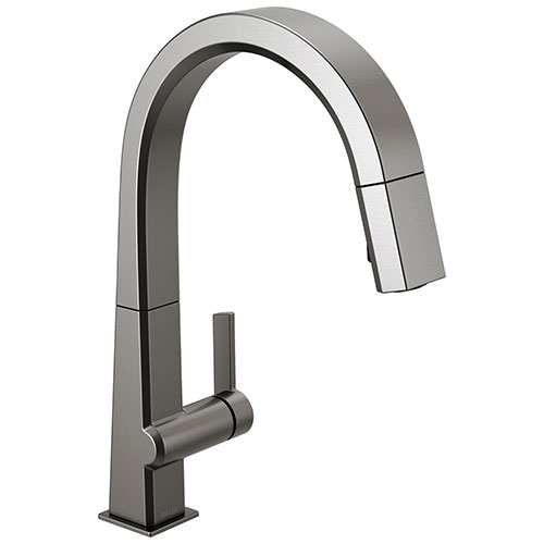 Delta Pivotal Black Stainless Steel Finish Single Handle Pull Down Kitchen Faucet D9193KSDST