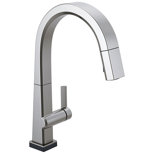 Delta Pivotal Arctic Stainless Steel Finish Single Handle Pull Down Kitchen Faucet with Touch2O Technology D9193TARDST