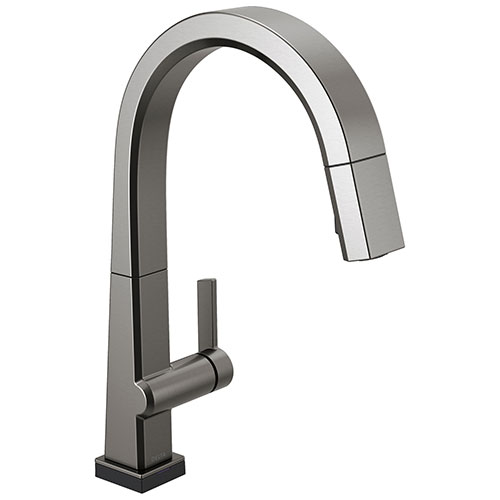 Delta Pivotal Black Stainless Steel Finish Single Handle Pull Down Kitchen Faucet with Touch2O Technology D9193TKSDST