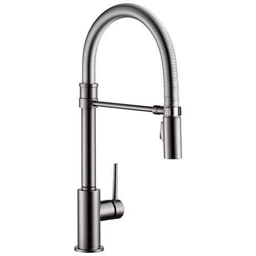 Delta Trinsic Black Stainless Steel Finish Single Handle Pull-Down Kitchen Faucet With Spring Spout D9659KSDST