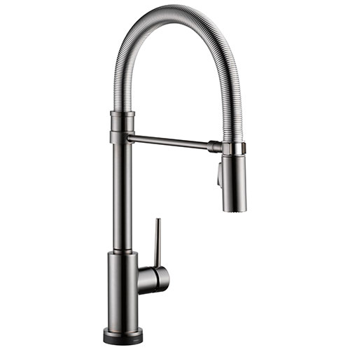 Delta Trinsic Black Stainless Steel Finish Single Handle Pull-Down Spring Spout Kitchen Faucet with Touch2O Technology D9659TKSDST