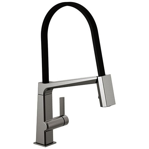Delta Pivotal Black Stainless Steel Finish Single Handle Exposed Hose Kitchen Faucet D9693KSDST