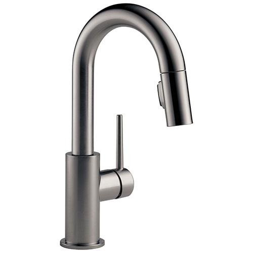 Delta Trinsic Black Stainless Steel Finish Single Handle Pull-Down Bar/Prep Kitchen Limited Swivel D9959KSLSDST
