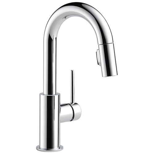 Delta Trinsic Chrome Finish Single Handle Pull-Down Bar/Prep Kitchen Limited Swivel D9959LSDST