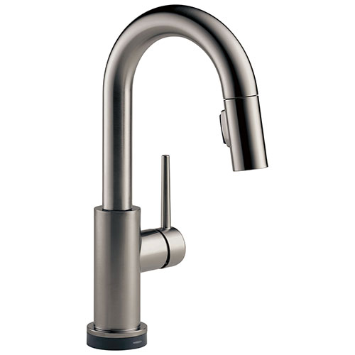 Delta Trinsic Black Stainless Steel Finish Single Handle Pull-Down Bar/Prep Sink Faucet with Touch2O D9959TKSDST