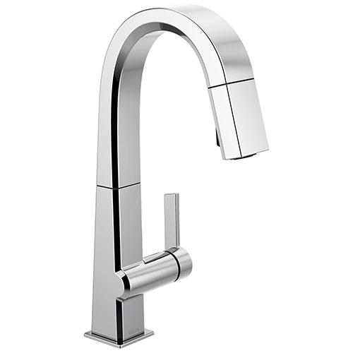 Delta Pivotal Chrome Finish Single Handle Pull Down Bar/Prep Faucet D9993DST