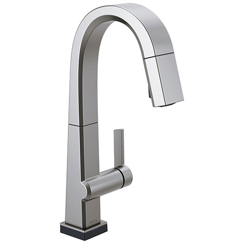 Delta Pivotal Arctic Stainless Steel Finish Single Handle Pull Down Bar/Prep Faucet With Touch2O Technology D9993TARDST
