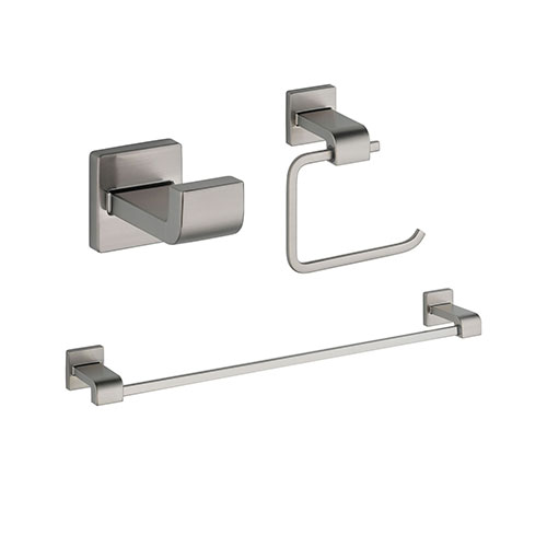 Delta Ara Stainless Steel Finish BASICS Bathroom Accessory Set Includes: 24