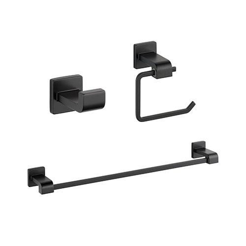 Delta Ara Matte Black BASICS Bathroom Accessory Set Includes: 24