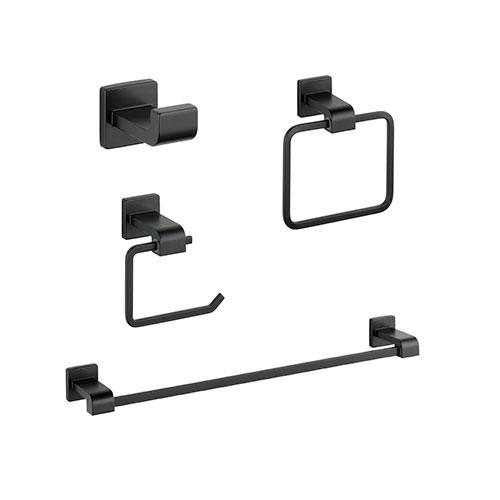 Delta Ara Matte Black STANDARD Bathroom Accessory Set Includes: 24