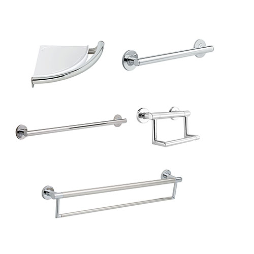 Delta Bath Safety Contemporary Chrome DELUXE Bathroom Grab Bar Accessory Set: 24