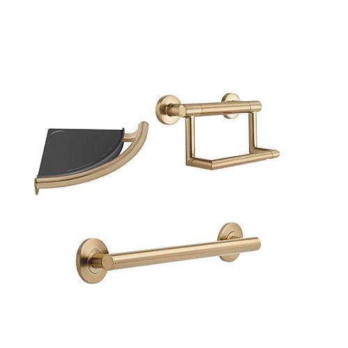 Delta Bath Safety Champagne Bronze BASICS Bathroom Accessory Set Includes: 18