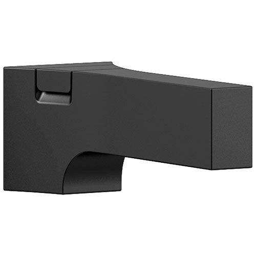 Delta Zura Matte Black Finish Modern Tub Spout with Diverter DRP84412BL
