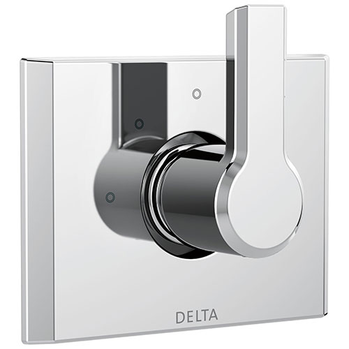 Delta Pivotal Modern Chrome Finish 3-Setting 2 Outlet Port Shower System Diverter Includes Lever Handle and Rough-in Valve D3573V